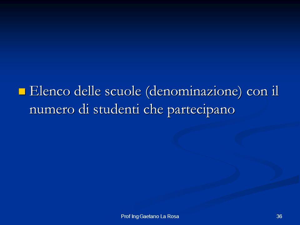36Prof Ing Gaetano La Rosa Elenco delle scuole (denominazione) con il numero di studenti che partecipano Elenco delle scuole (denominazione) con il nu