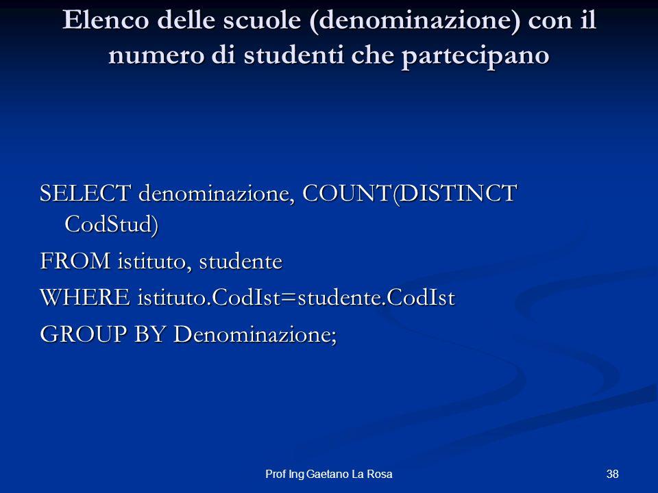 38Prof Ing Gaetano La Rosa Elenco delle scuole (denominazione) con il numero di studenti che partecipano SELECT denominazione, COUNT(DISTINCT CodStud)