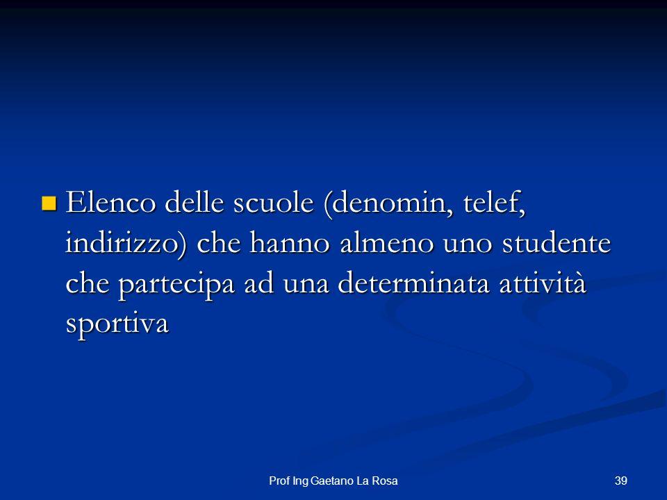 39Prof Ing Gaetano La Rosa Elenco delle scuole (denomin, telef, indirizzo) che hanno almeno uno studente che partecipa ad una determinata attività spo