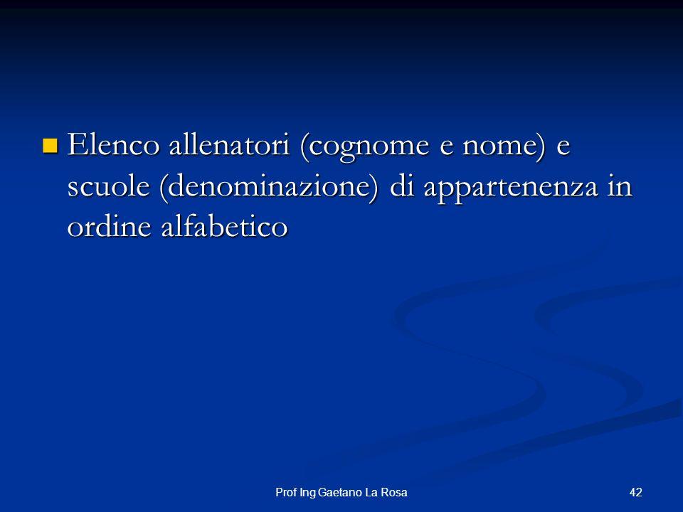 42Prof Ing Gaetano La Rosa Elenco allenatori (cognome e nome) e scuole (denominazione) di appartenenza in ordine alfabetico Elenco allenatori (cognome