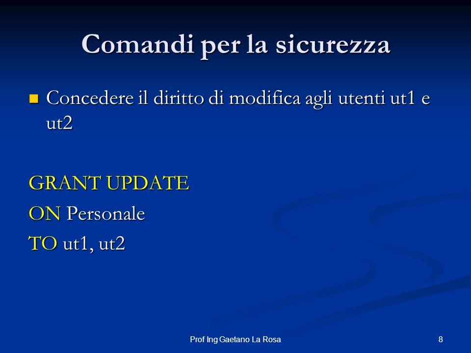 8Prof Ing Gaetano La Rosa Comandi per la sicurezza Concedere il diritto di modifica agli utenti ut1 e ut2 Concedere il diritto di modifica agli utenti