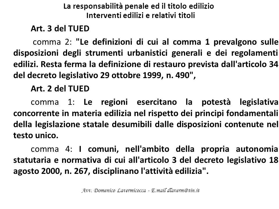 La responsabilità penale ed il titolo edilizio Interventi edilizi e relativi titoli Art. 3 del TUED comma 2: