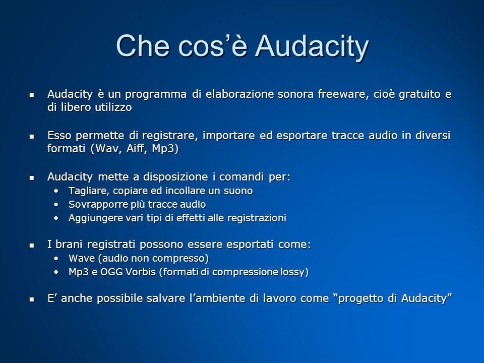 La schermata di Audacity Dopo aver aperto il programma selezionate Modifica/Preferenze per scegliere tra le varie opzioni presenti.