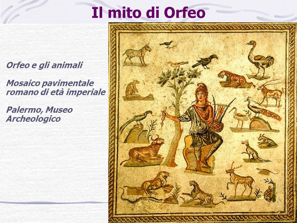 Il mito di Orfeo Orfeo e gli animali Mosaico pavimentale romano di età imperiale Palermo, Museo Archeologico