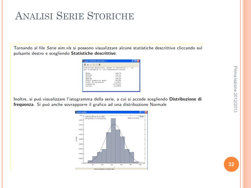 A NALISI S ERIE S TORICHE Prima lezione 2012/2013 32