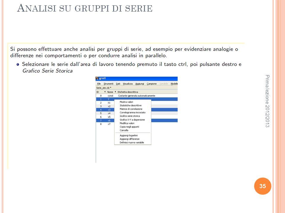 A NALISI SU GRUPPI DI SERIE Prima lezione 2012/2013 35