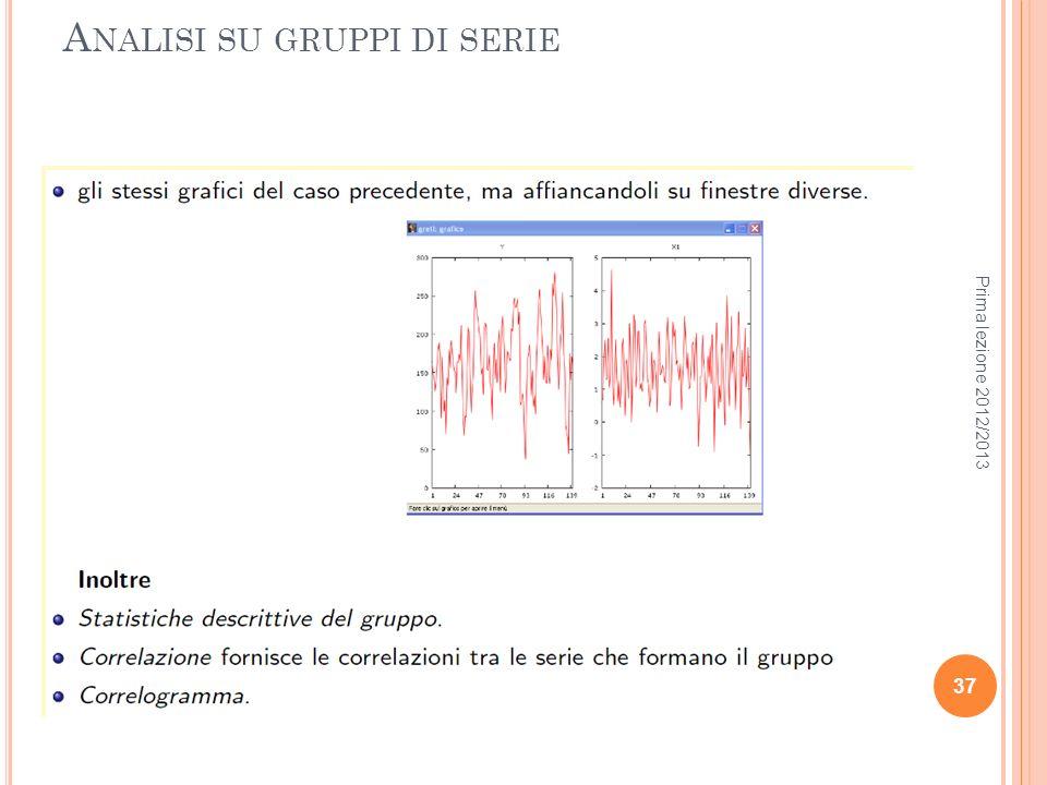 A NALISI SU GRUPPI DI SERIE Prima lezione 2012/2013 37
