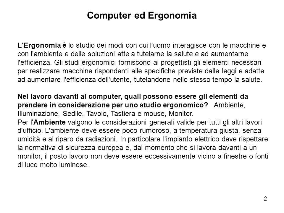 2 Computer ed Ergonomia L'Ergonomia è lo studio dei modi con cui l'uomo interagisce con le macchine e con l'ambiente e delle soluzioni atte a tutelarn