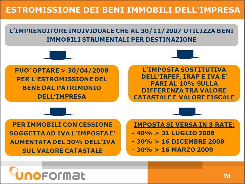 24 ESTROMISSIONE DEI BENI IMMOBILI DELLIMPRESA PUO OPTARE > 30/04/2008 PER LESTROMISSIONE DEL BENE DAL PATRIMONIO DELLIMPRESA LIMPOSTA SOSTITUTIVA DELLIRPEF, IRAP E IVA E PARI AL 10% SULLA DIFFERENZA TRA VALORE CATASTALE E VALORE FISCALE LIMPRENDITORE INDIVIDUALE CHE AL 30/11/2007 UTILIZZA BENI IMMOBILI STRUMENTALI PER DESTINAZIONE PER IMMOBILI CON CESSIONE SOGGETTA AD IVA LIMPOSTA E AUMENTATA DEL 30% DELLIVA SUL VALORE CATASTALE IMPOSTA SI VERSA IN 3 RATE: - 40% > 31 LUGLIO 2008 - 30% > 16 DICEMBRE 2008 - 30% > 16 MARZO 2009