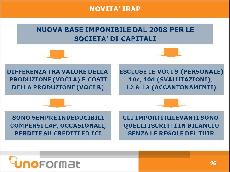 NOVITA IRAP NUOVA BASE IMPONIBILE DAL 2008 PER LE SOCIETA DI CAPITALI 26 DIFFERENZA TRA VALORE DELLA PRODUZIONE (VOCI A) E COSTI DELLA PRODUZIONE (VOCI B) ESCLUSE LE VOCI 9 (PERSONALE) 10c, 10d (SVALUTAZIONI), 12 & 13 (ACCANTONAMENTI) SONO SEMPRE INDEDUCIBILI COMPENSI LAP, OCCASIONALI, PERDITE SU CREDITI ED ICI GLI IMPORTI RILEVANTI SONO QUELLI ISCRITTI IN BILANCIO SENZA LE REGOLE DEL TUIR