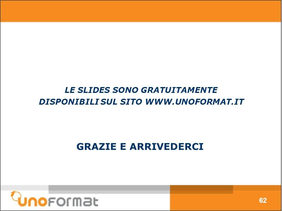 GRAZIE E ARRIVEDERCI 62 LE SLIDES SONO GRATUITAMENTE DISPONIBILI SUL SITO WWW.UNOFORMAT.IT