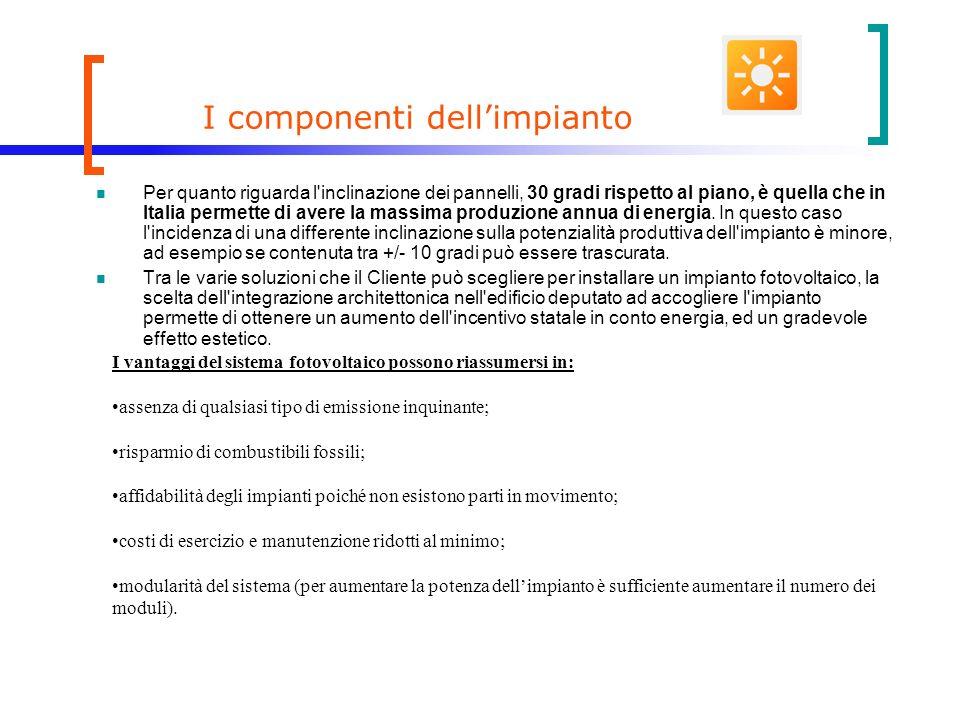 I componenti dellimpianto Per quanto riguarda l inclinazione dei pannelli, 30 gradi rispetto al piano, è quella che in Italia permette di avere la massima produzione annua di energia.