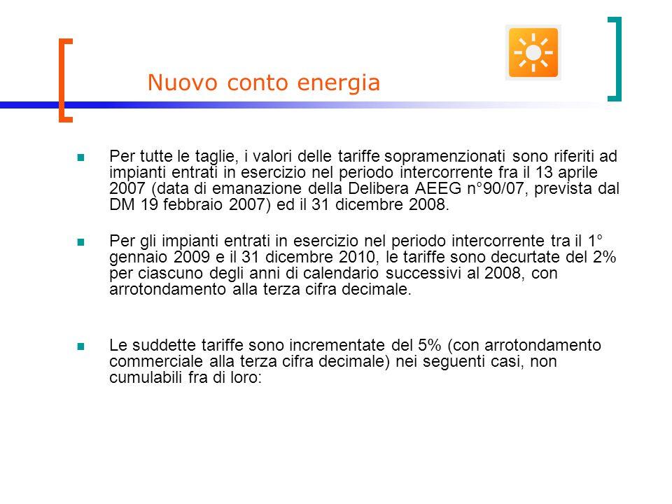 Nuovo conto energia Per tutte le taglie, i valori delle tariffe sopramenzionati sono riferiti ad impianti entrati in esercizio nel periodo intercorrente fra il 13 aprile 2007 (data di emanazione della Delibera AEEG n°90/07, prevista dal DM 19 febbraio 2007) ed il 31 dicembre 2008.