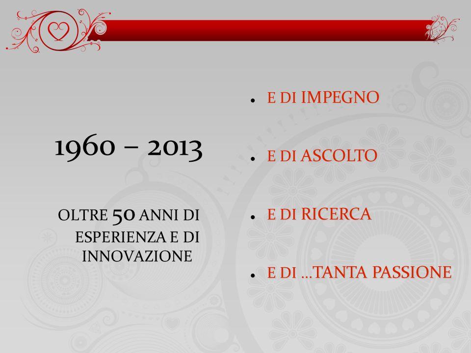 1960 – 2013 OLTRE 50 ANNI DI ESPERIENZA E DI INNOVAZIONE E DI IMPEGNO E DI IMPEGNO E DI ASCOLTO E DI ASCOLTO E DI RICERCA E DI RICERCA E DI...