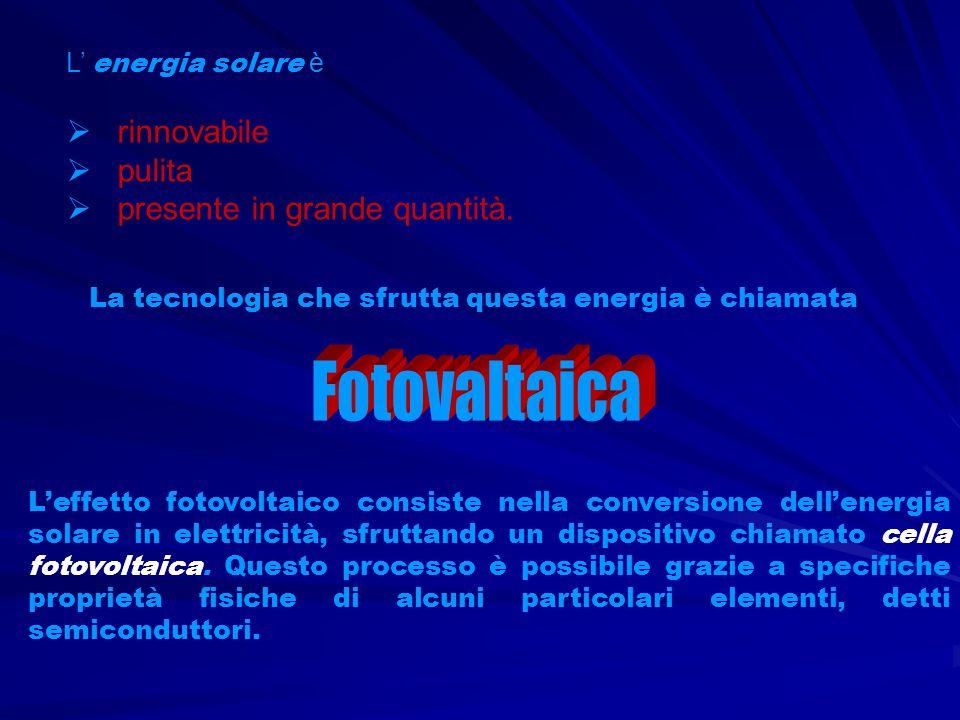 La cella fotovoltaica è sostanzialmente un diodo, ovvero una giunzione PN tra due semiconduttori, uno drogato P laltro N, essa viene anche chiamata fotopila o batteria solare.