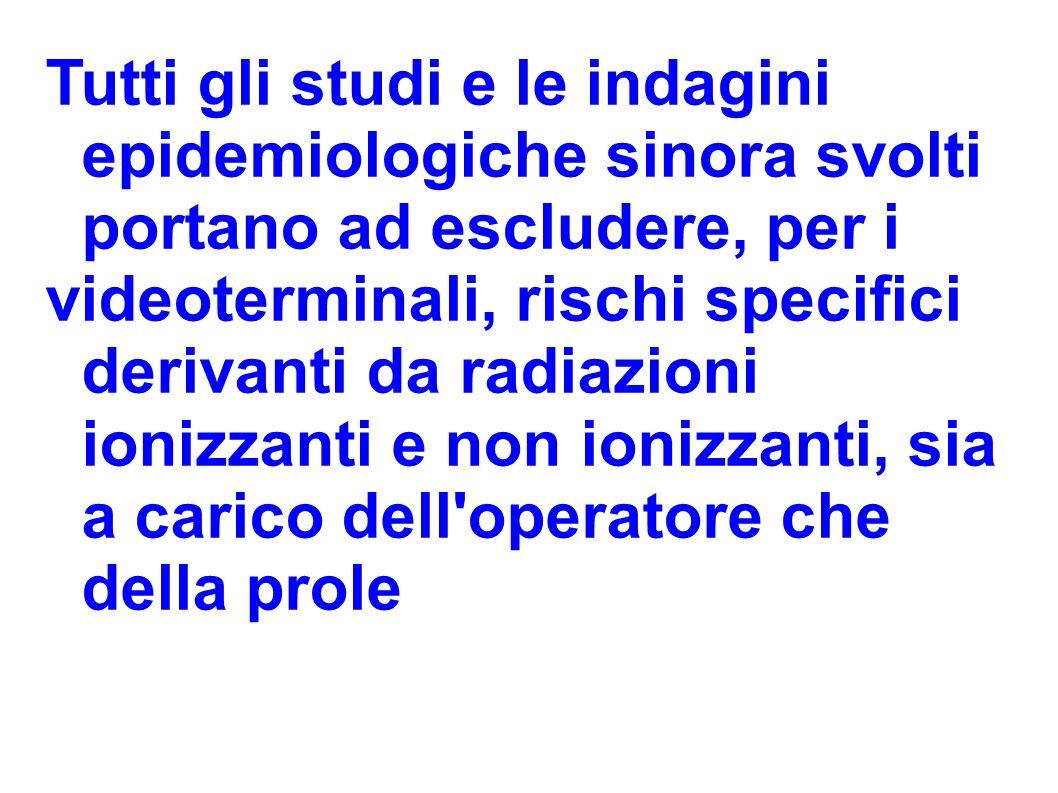 Tutti gli studi e le indagini epidemiologiche sinora svolti portano ad escludere, per i videoterminali, rischi specifici derivanti da radiazioni ioniz