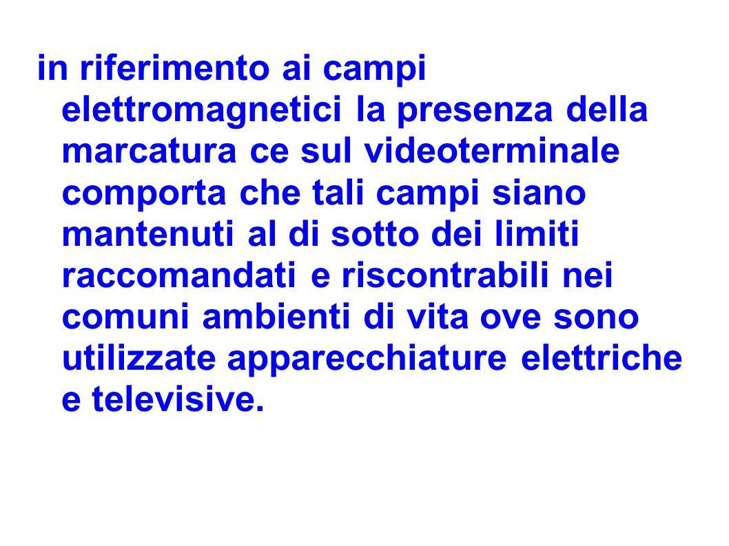 in riferimento ai campi elettromagnetici la presenza della marcatura ce sul videoterminale comporta che tali campi siano mantenuti al di sotto dei lim