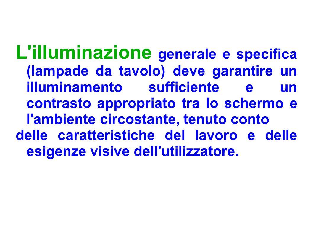 L'illuminazione generale e specifica (lampade da tavolo) deve garantire un illuminamento sufficiente e un contrasto appropriato tra lo schermo e l'amb