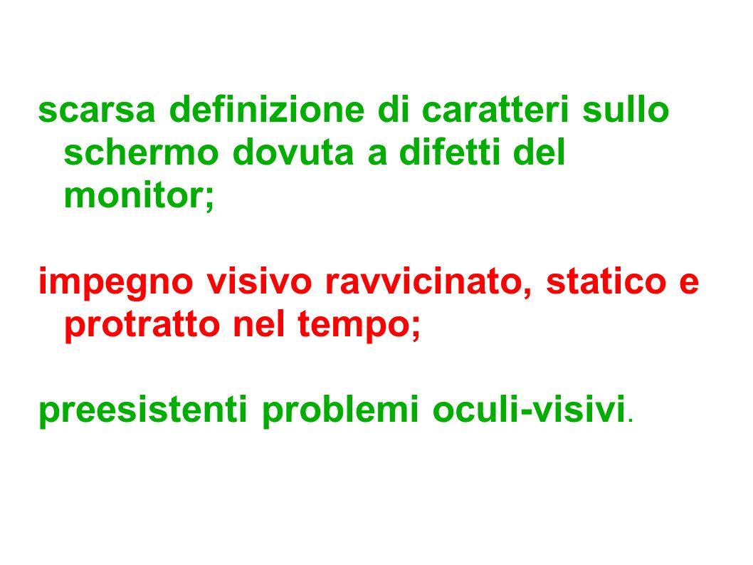 scarsa definizione di caratteri sullo schermo dovuta a difetti del monitor; impegno visivo ravvicinato, statico e protratto nel tempo; preesistenti pr