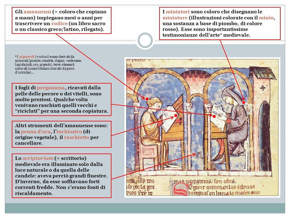 Gli amanuensi (= coloro che copiano a mano) impiegano mesi o anni per trascrivere un codice (un libro sacro o un classico greco/latino, rilegato). I f