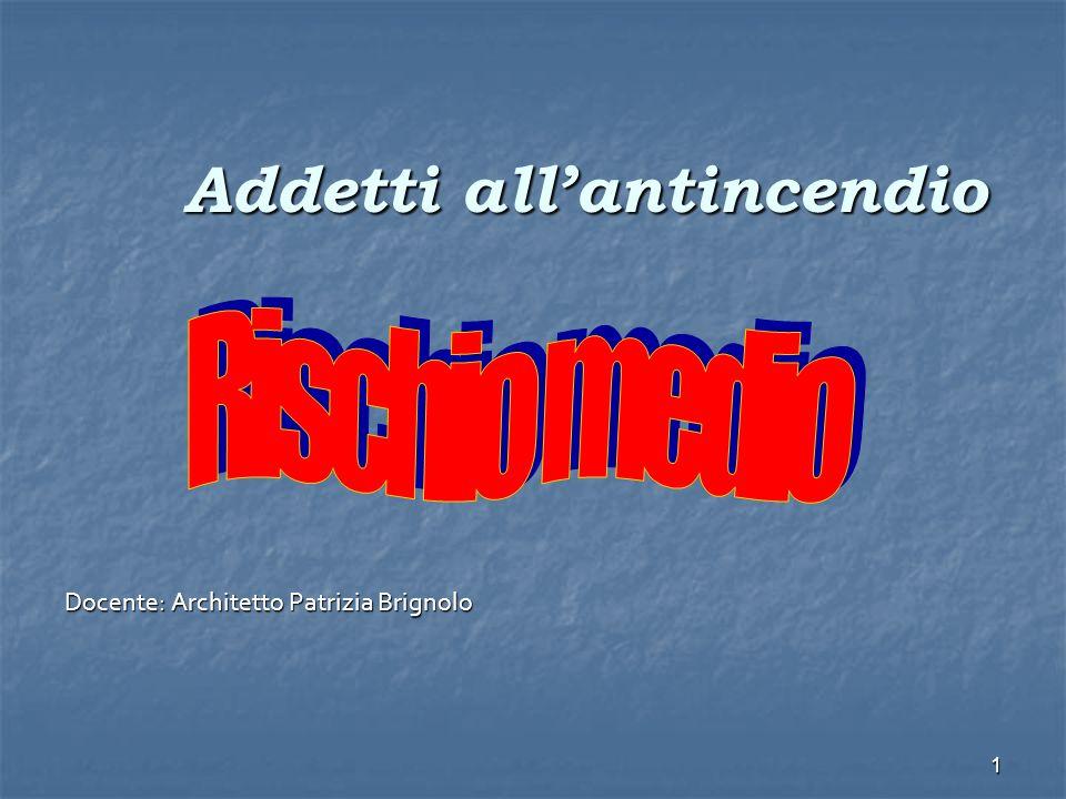 1 Addetti allantincendio Docente: Architetto Patrizia Brignolo