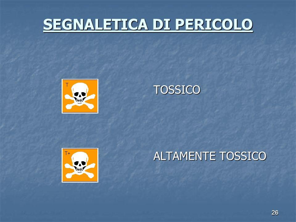 26 SEGNALETICA DI PERICOLO SEGNALETICA DI PERICOLO TOSSICO ALTAMENTE TOSSICO
