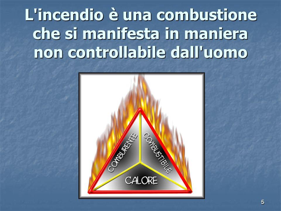 5 L'incendio è una combustione che si manifesta in maniera non controllabile dall'uomo