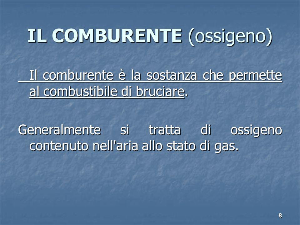 8 IL COMBURENTE (ossigeno) Il comburente è la sostanza che permette al combustibile di bruciare. Generalmente si tratta di ossigeno contenuto nell'ari