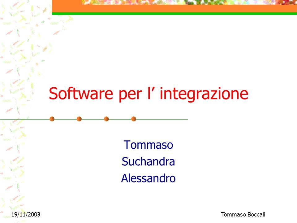 19/11/2003Tommaso Boccali Software per l integrazione Tommaso Suchandra Alessandro