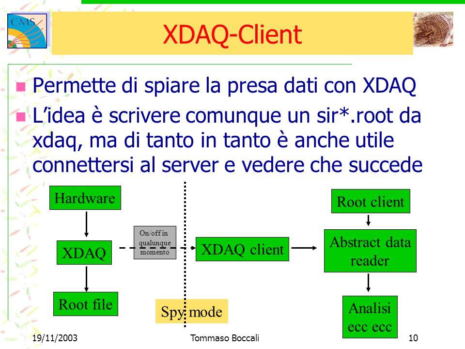 19/11/2003Tommaso Boccali10 On/off in qualunque momento Spy mode XDAQ-Client Permette di spiare la presa dati con XDAQ Lidea è scrivere comunque un sir*.root da xdaq, ma di tanto in tanto è anche utile connettersi al server e vedere che succede Hardware XDAQ Root file XDAQ client Root client Abstract data reader Analisi ecc ecc