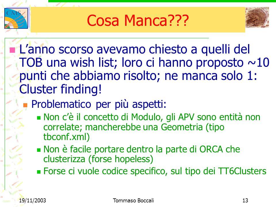 19/11/2003Tommaso Boccali13 Cosa Manca .