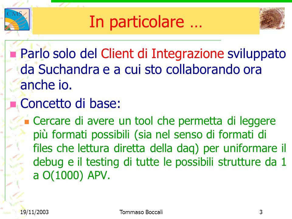 19/11/2003Tommaso Boccali3 In particolare … Parlo solo del Client di Integrazione sviluppato da Suchandra e a cui sto collaborando ora anche io.