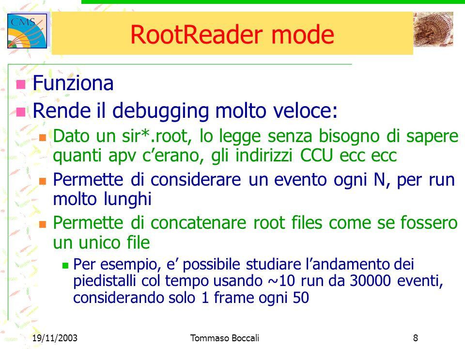 19/11/2003Tommaso Boccali8 RootReader mode Funziona Rende il debugging molto veloce: Dato un sir*.root, lo legge senza bisogno di sapere quanti apv cerano, gli indirizzi CCU ecc ecc Permette di considerare un evento ogni N, per run molto lunghi Permette di concatenare root files come se fossero un unico file Per esempio, e possibile studiare landamento dei piedistalli col tempo usando ~10 run da 30000 eventi, considerando solo 1 frame ogni 50