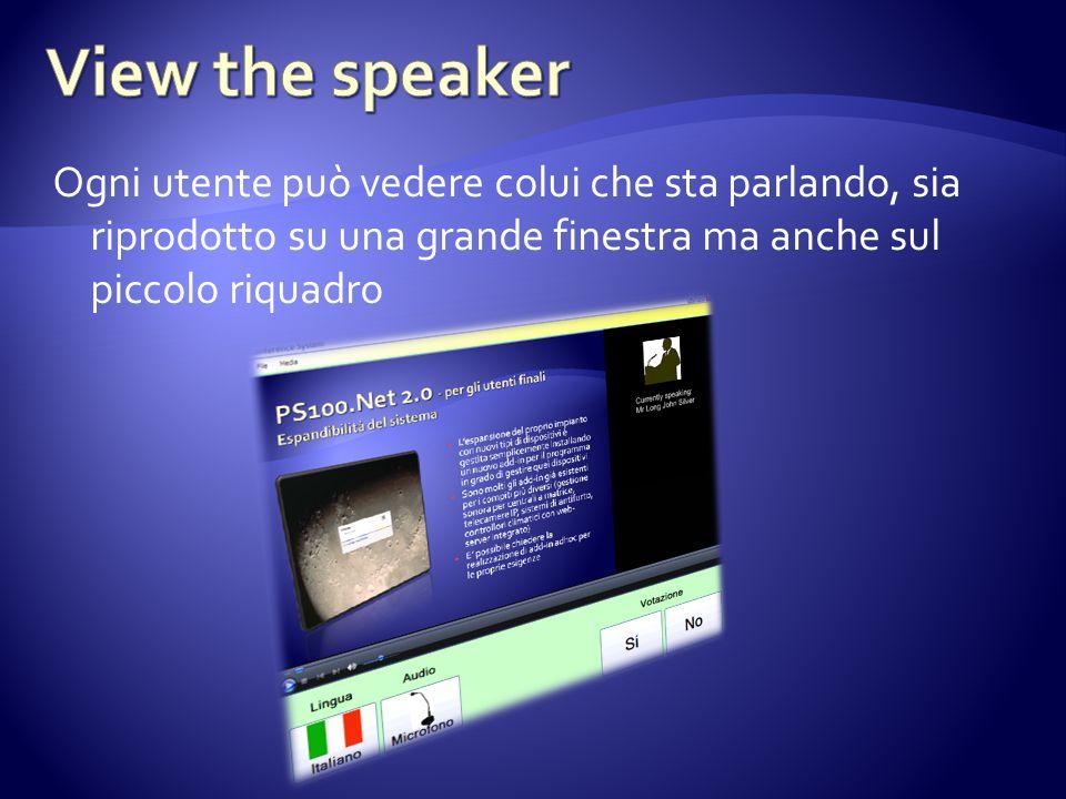 Ogni utente può vedere colui che sta parlando, sia riprodotto su una grande finestra ma anche sul piccolo riquadro