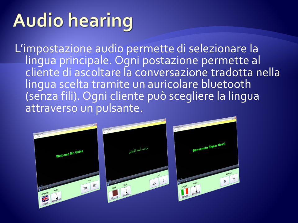 Limpostazione audio permette di selezionare la lingua principale. Ogni postazione permette al cliente di ascoltare la conversazione tradotta nella lin