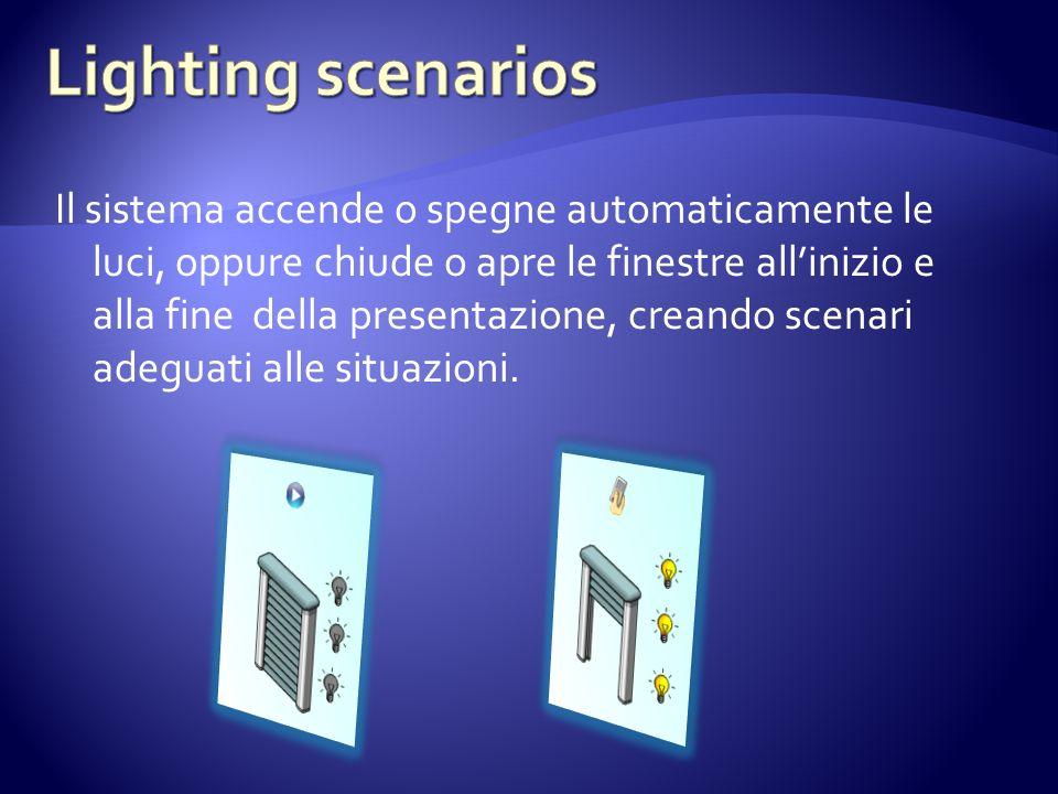 Il sistema accende o spegne automaticamente le luci, oppure chiude o apre le finestre allinizio e alla fine della presentazione, creando scenari adeguati alle situazioni.
