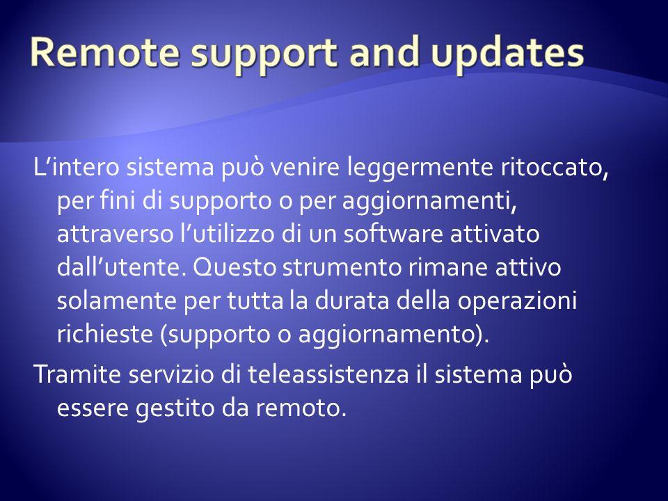 Lintero sistema può venire leggermente ritoccato, per fini di supporto o per aggiornamenti, attraverso lutilizzo di un software attivato dallutente.