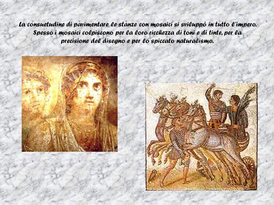 La consuetudine di pavimentare le stanze con mosaici si sviluppò in tutto l impero.