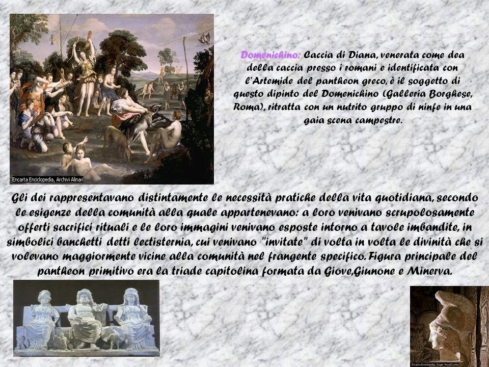Domenichino: Domenichino: Caccia di Diana, venerata come dea della caccia presso i romani e identificata con lArtemide del pantheon greco, è il soggetto di questo dipinto del Domenichino (Galleria Borghese, Roma), ritratta con un nutrito gruppo di ninfe in una gaia scena campestre.