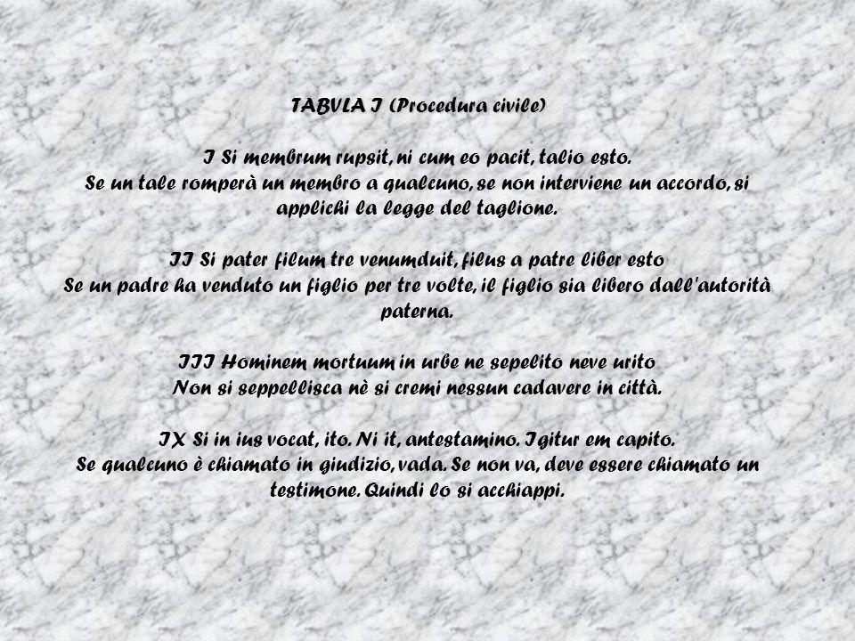 TABVLA I (Procedura civile) I Si membrum rupsit, ni cum eo pacit, talio esto.