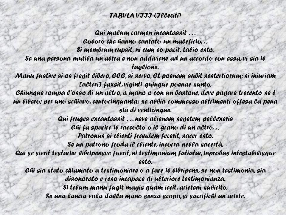 TABVLA VIII (Illeciti) Qui malum carmen incantassit...