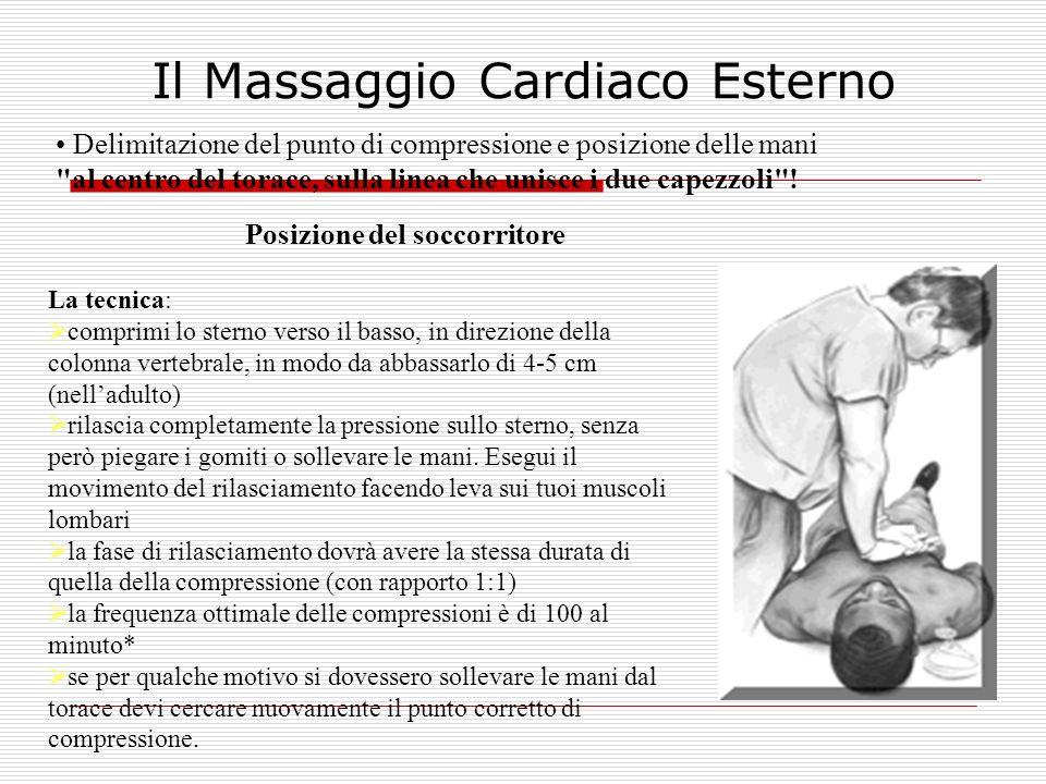 Il Massaggio Cardiaco Esterno Delimitazione del punto di compressione e posizione delle mani