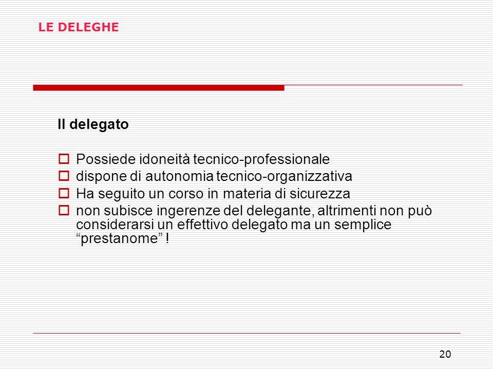 20 LE DELEGHE Il delegato Possiede idoneità tecnico-professionale dispone di autonomia tecnico-organizzativa Ha seguito un corso in materia di sicurez