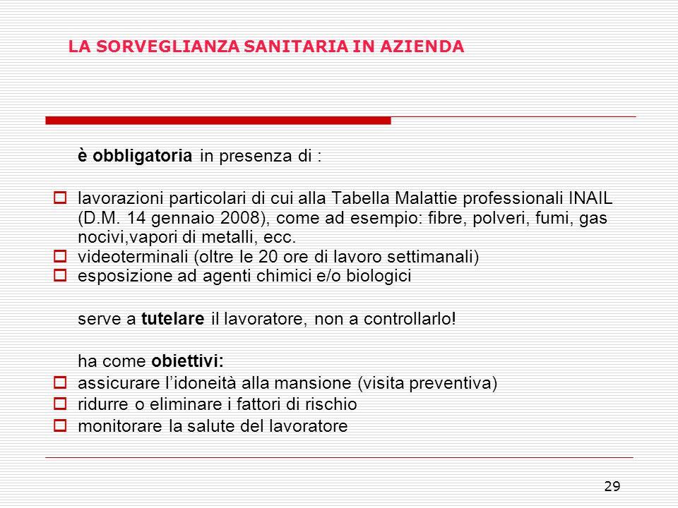 29 LA SORVEGLIANZA SANITARIA IN AZIENDA è obbligatoria in presenza di : lavorazioni particolari di cui alla Tabella Malattie professionali INAIL (D.M.
