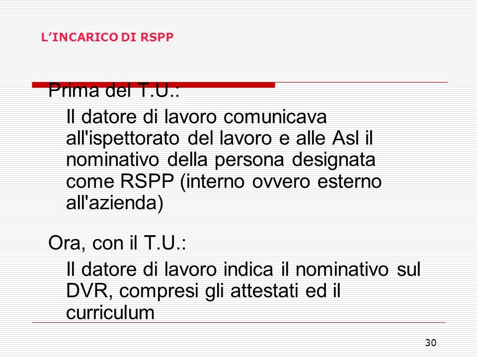 30 LINCARICO DI RSPP Prima del T.U.: Il datore di lavoro comunicava all'ispettorato del lavoro e alle Asl il nominativo della persona designata come R