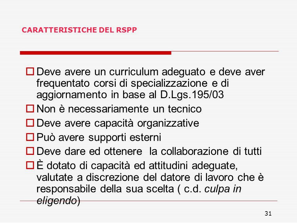 31 CARATTERISTICHE DEL RSPP Deve avere un curriculum adeguato e deve aver frequentato corsi di specializzazione e di aggiornamento in base al D.Lgs.19