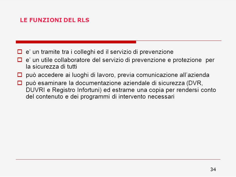 34 LE FUNZIONI DEL RLS e un tramite tra i colleghi ed il servizio di prevenzione e un utile collaboratore del servizio di prevenzione e protezione per