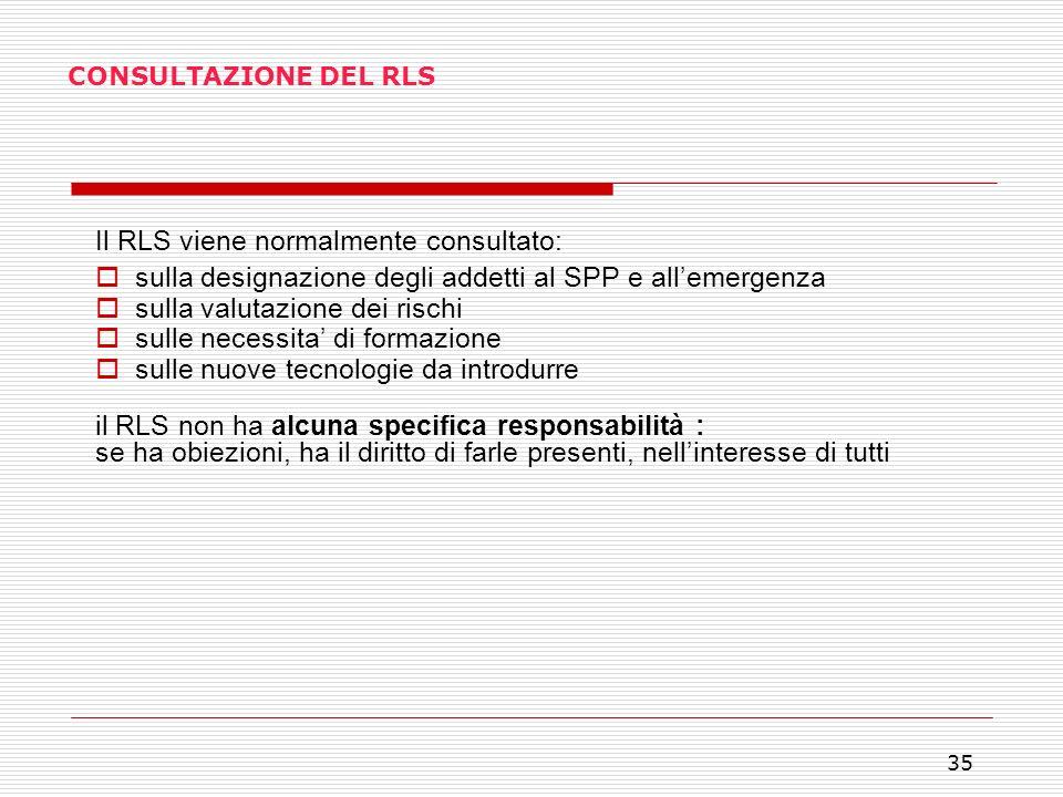 35 CONSULTAZIONE DEL RLS Il RLS viene normalmente consultato: sulla designazione degli addetti al SPP e allemergenza sulla valutazione dei rischi sull