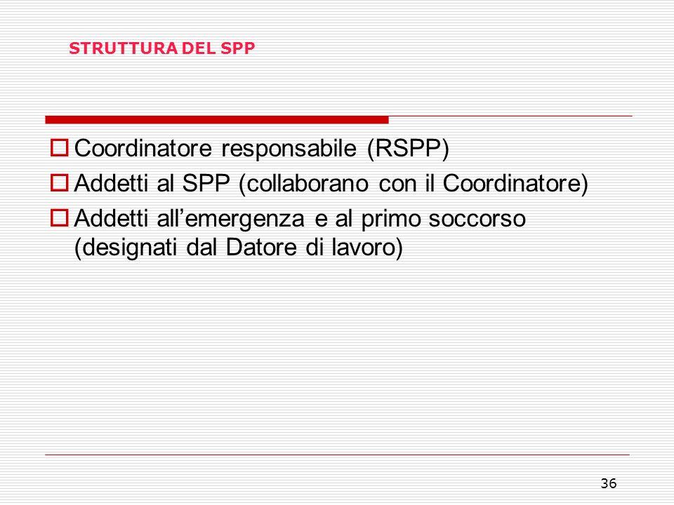 36 STRUTTURA DEL SPP Coordinatore responsabile (RSPP) Addetti al SPP (collaborano con il Coordinatore) Addetti allemergenza e al primo soccorso (desig