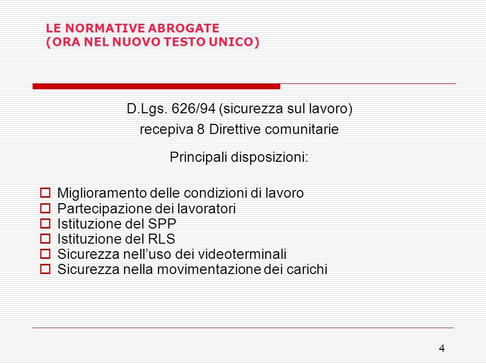 4 LE NORMATIVE ABROGATE (ORA NEL NUOVO TESTO UNICO) D.Lgs. 626/94 (sicurezza sul lavoro) recepiva 8 Direttive comunitarie Principali disposizioni: Mig